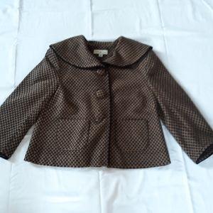 Black/camel pattern twill blazer